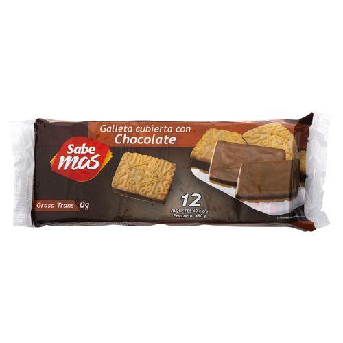 Galleta Sabemas Cubierta Chocolate - 480gr